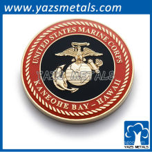 Customize military coins, custom made marine corps coin with soft enamel